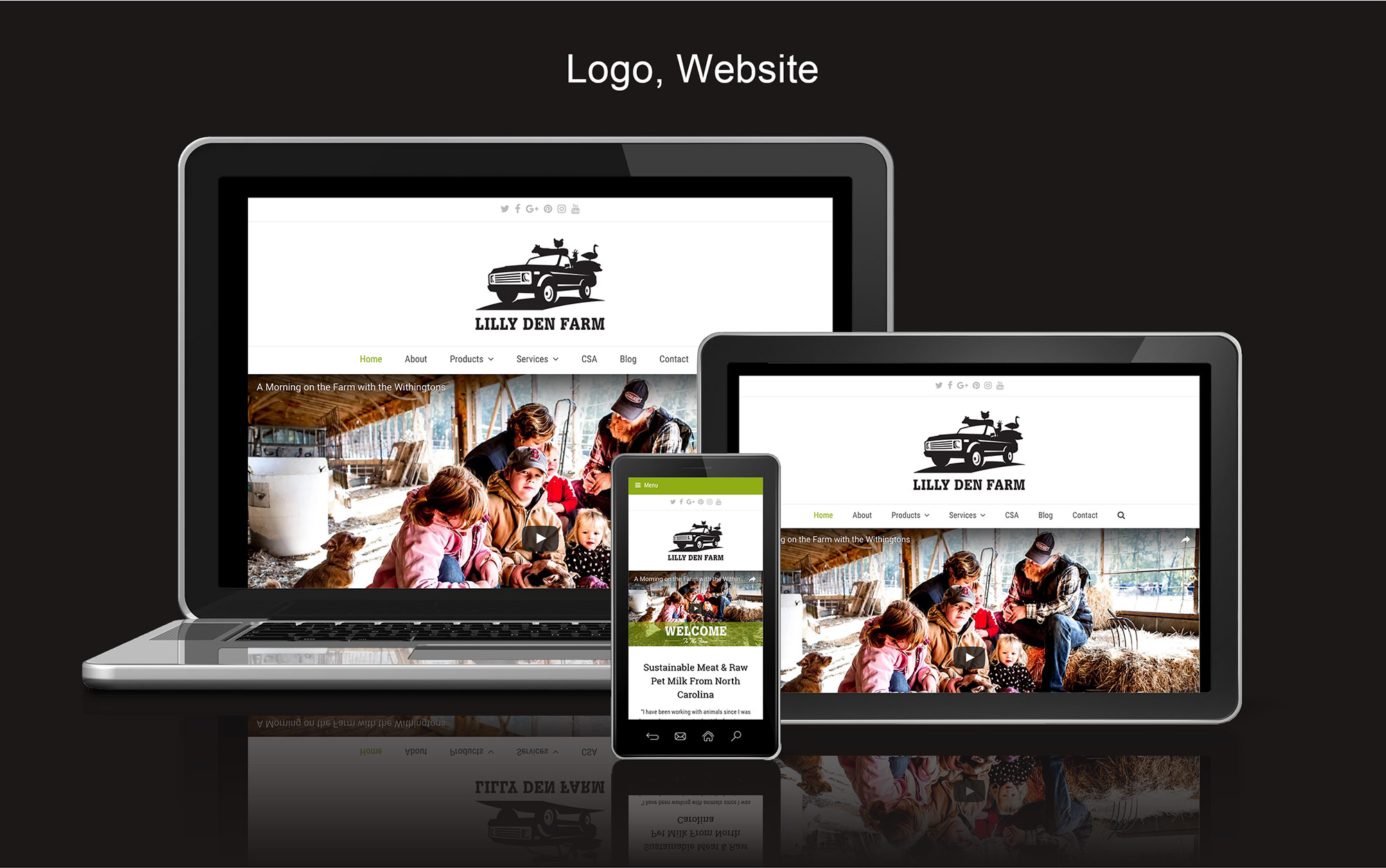 Lilly Den Farm Website - Desktop, Tablet, and Smartphone devices with website on screens